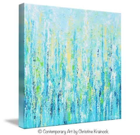GICLEE PRINT Art Abstract Painting Light Blue Aqua Contemporary Coastal Wall Art Teal Yellow Canvas - Christine Krainock Art - Contemporary Art by Christine - 1
