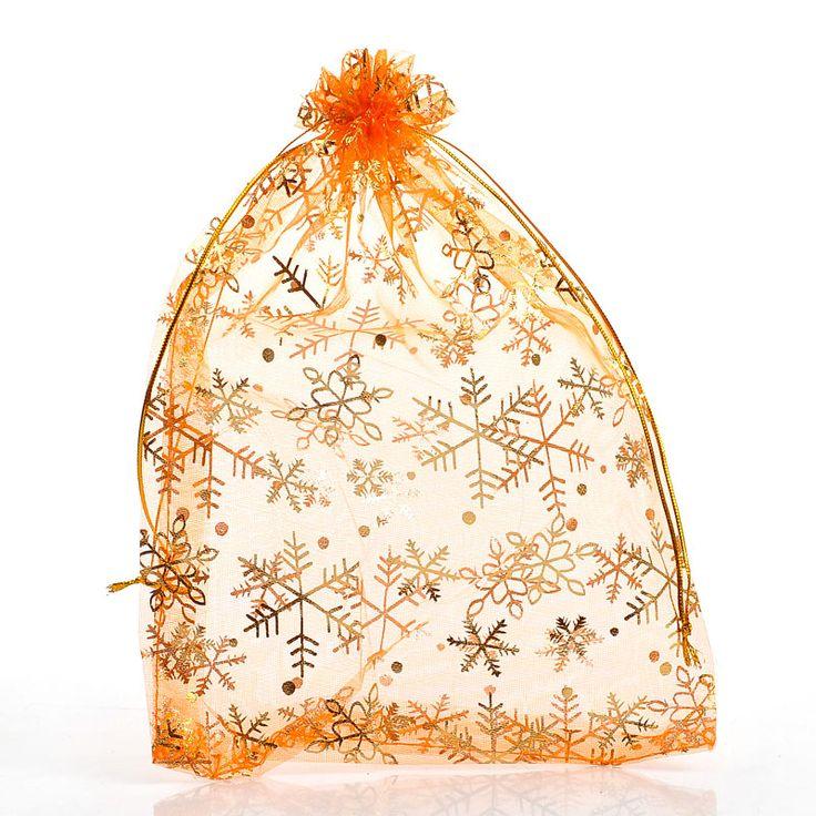 DoreenBeads Органза Drawable Свадьба Подарочные Пакеты и сумки Оранжевый Снежинка Pattern 25x18 см, 50 Шт. (B26033), иу