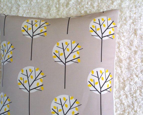 Moonlight Tree in Stone cushion cover by LouiseBrainwood on Etsy, £20.00