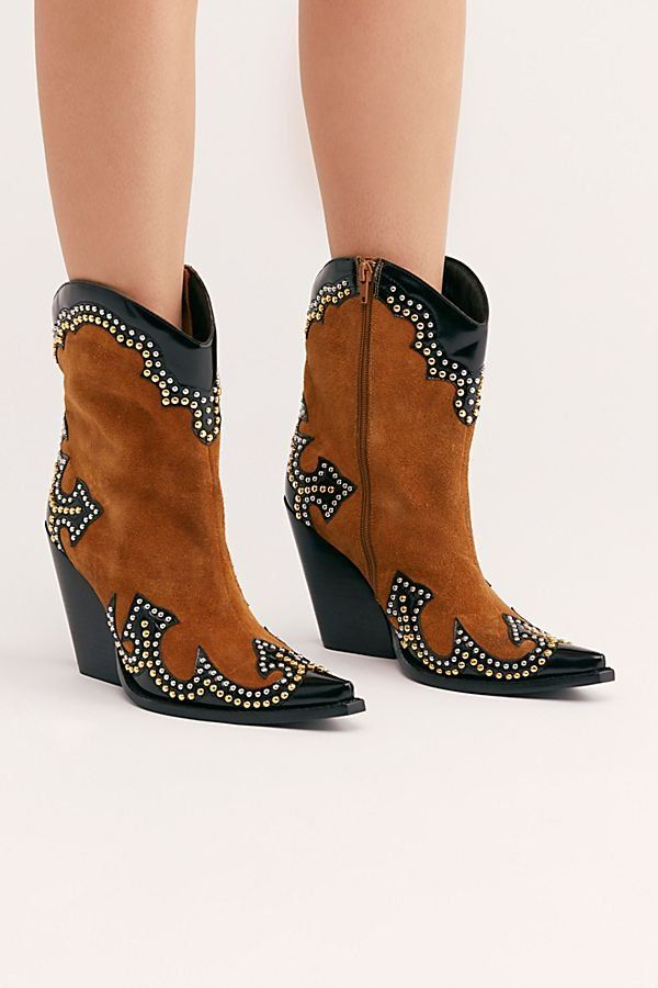 16633b4e8b2d Larsen Western Boot - Brown and Black Studded Western Boot - Suede Western  Boots - Western Boots - Free People Boots - Free People Style