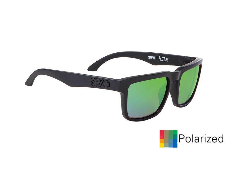 Spy Helm/Matte Black-Happy Bronze Polar Green Specra/57-18  #spy #sunglasses #optofashion  Το Spy Helm είναι ενα κοκκάλινο γυαλί ηλίου με μαύρο ματ πλαίσιο και πράσινο καθρέφτη πολαριζέ φακό. Το μεσαίο μέγεθός του και το ορθογώνιο σχήμα του ικανοποεί τα περισσότερα σχήματα προσώπου. Επέλεξε το Spy Helm/Matte Black-Happy Bronze Polar Green Specraγια μια ξεχωριστή και έξυπνη επιλογή.