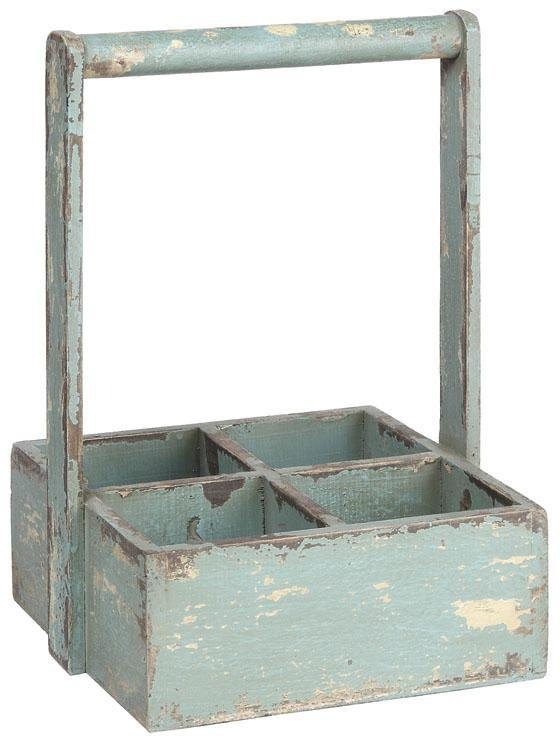 Garden rustic potted plant holder or equipment holder. Plants potted in mason jars would work well.