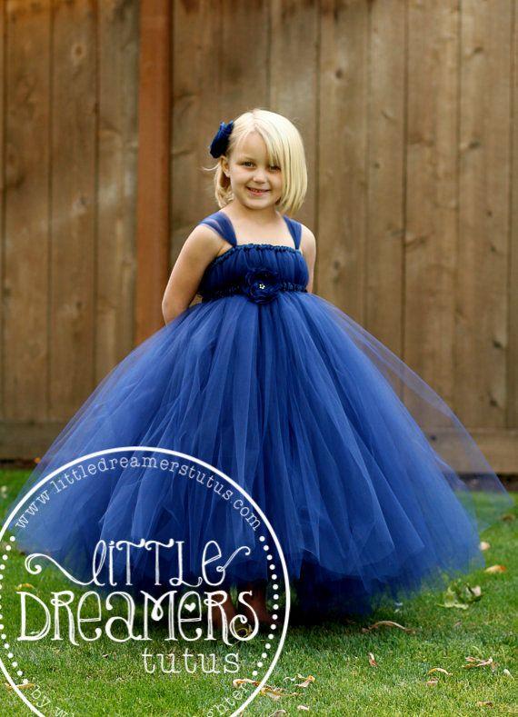 Navy Blue Flower Girl Tutu Dress by littledreamersinc on Etsy