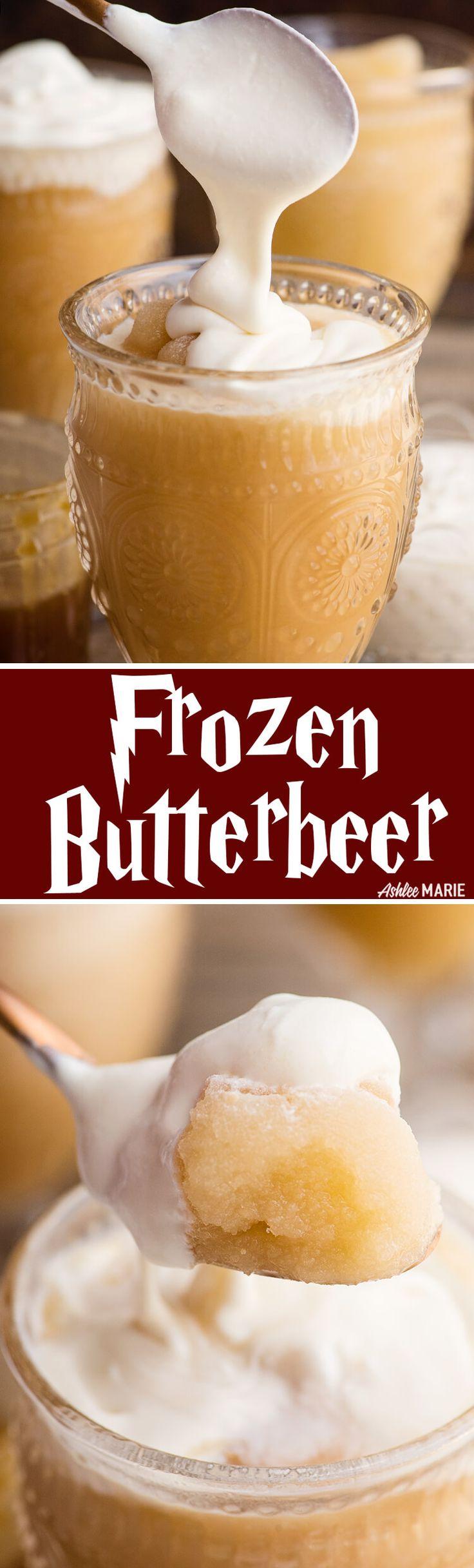 enjoy this harry potter favorite - homemade frozen butterbeer! recipe and video tutorial | harry potter | butterbeer | universal studios | wizarding world of harry potter | frozen butterbeer | Ashlee Marie #butterbeer #harrypotter #universalstudios via @ashleemariecake