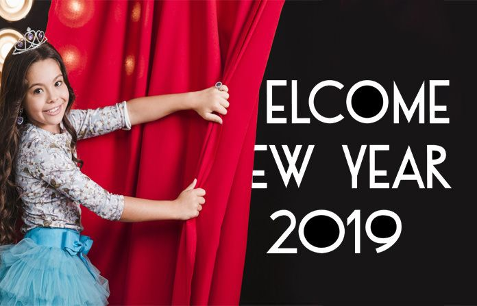 Happy New Year Pictures 2019 A Cute Girl Removing Curtain For Welcoming New Year Happynewyear Happy New Year 2019 Welcome New Year Happy New Year Pictures
