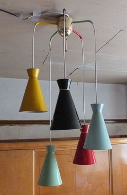 1950s Italian Multi-Colored Chandelier