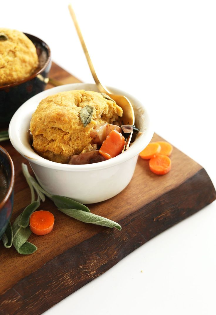 AMAZING 1 hour Vegan Fall Pot Pies with loads of veggies and pumpkin sage biscuits! #vegan #fall