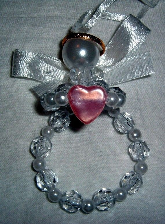 Angel Ornament pink heart beaded
