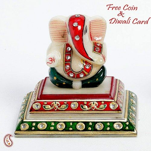 Siddhi Vinayak on a Pedestal with stones - Online Shopping for Diwali Pooja Accessories by Apno Rajasthan