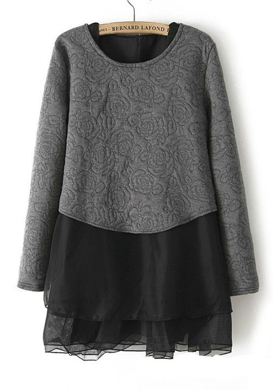 Love LOVE LOVE! Want! Want! Want! Would wear with Black Tights or leggings and Over the Knee Boots! Black Floral Round Neck Above Knee Wool Dress  #Chic