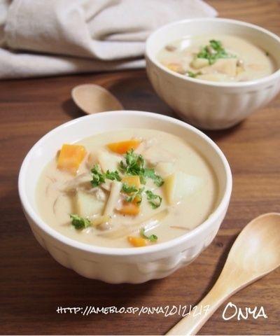 簡単食べるスープ♡美容健康にきのこチャウダー♡】 by おにゃさん ...