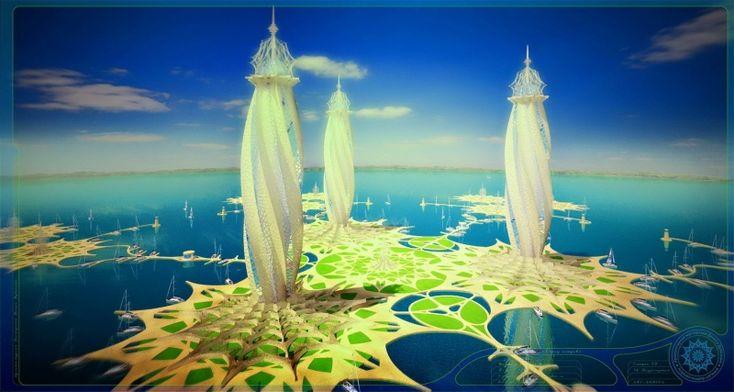 """Авторские галереи - Дубинин Денис Валерьевич / Концепт-проект: """"Плавающий Остров"""". Плавающий Эко город будущего!? Плавающий Остров - это искусственно созданное сооружение, разработанное на основе Инновационной Технологии. /"""