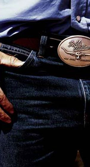RM Williams dressed man in jeans an RM Williams belt buckle • Adelaide's icons