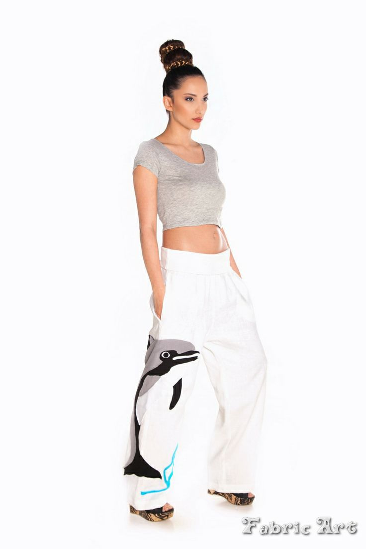 """Low crotch linen trousers with handmade applique """"Dolphin"""""""