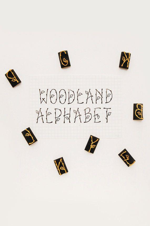 Woodland Alphabet stamps set Leaf and Twig letter von WoodlandTale