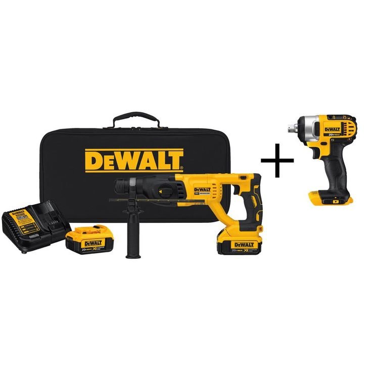 DEWALT 20-Volt MAX Lithium-Ion 1 in. Cordless Brushless D-Handle Rotary Hammer Kit with Bonus 1/2 in. Impact Driver