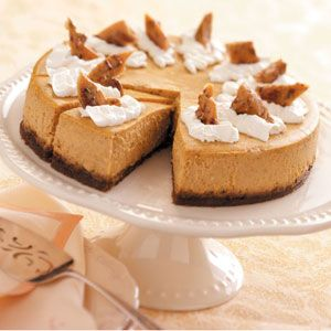 Pumpkin Cheesecake Deluxe Recipe from Taste of Home -- shared Andrea Quiroz of Chicago, Illinois