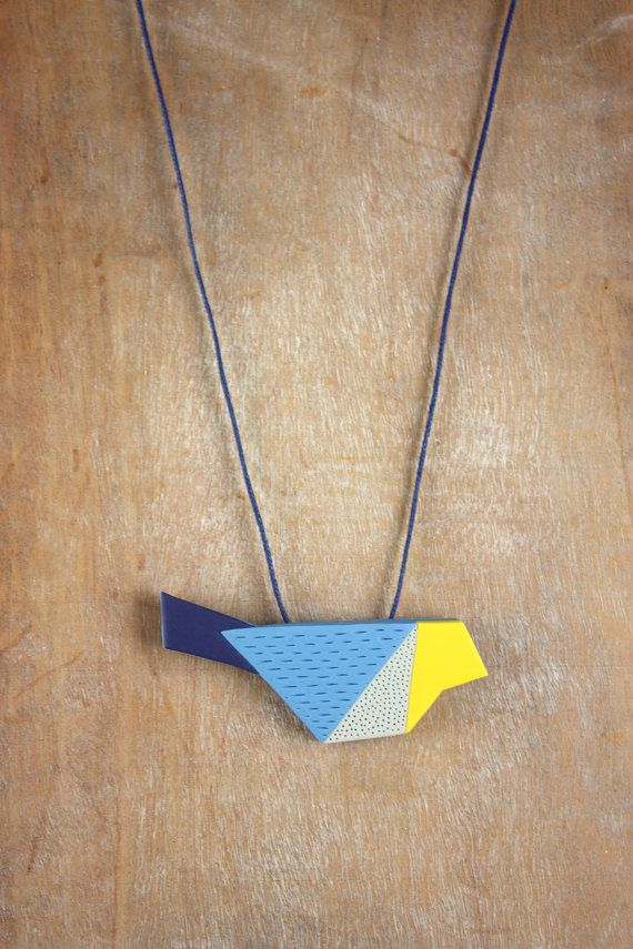 Polymer clay origami bird necklace animal by debroervandevogel