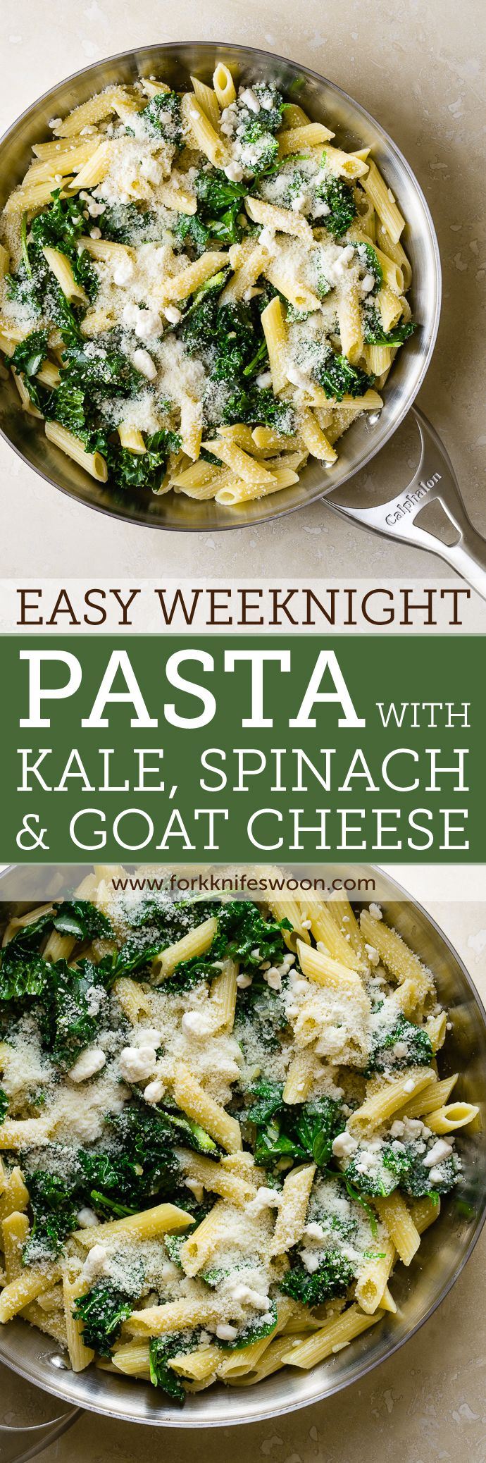 Easy Weeknight Pasta with Spinach, Kale and Goat Cheese   Fork Knife Swoon @forkknifeswoon