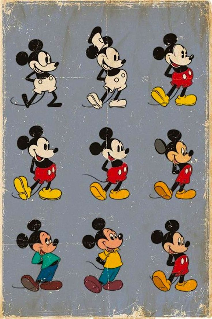 A poster showing the evolution of Mickey Mouse's artwork rendition