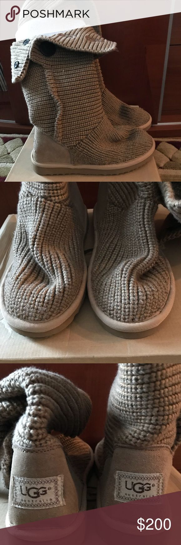 """UGG Classic Cardy knit boots UGG """"Classic Cardy"""" camel slouchy knit boots with fold over buttonhole top, shearling insole, rubber outer sole. So cute with jeans or tights. Worn once as pics show very little wear. With original box. UGG Shoes Winter & Rain Boots"""