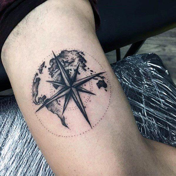 Tattoo Trends – Mens Inner Arm Bizeps Einfache Nautical Star Map Tattoo Design-Ideen