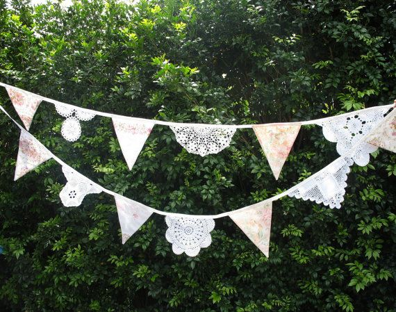 RETRO Vintage 'Doily Lace & Fabric Flag Bunting - High Tea Garden Party' Flag Bunting. HANDMADE . Birthday Parties, Weddings, Kitchen Tea