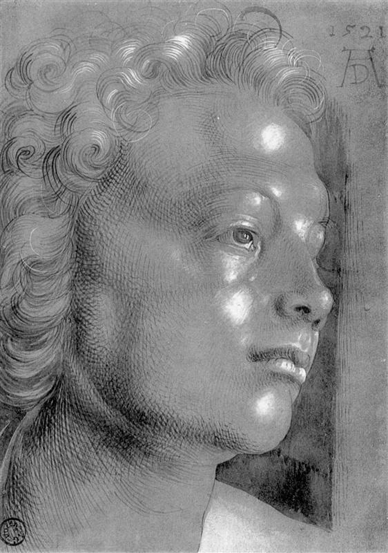 Albrecht Dürer (1471-1528), Studio su un quadro di Maria, (grande testa con i capelli ricci, angelo).
