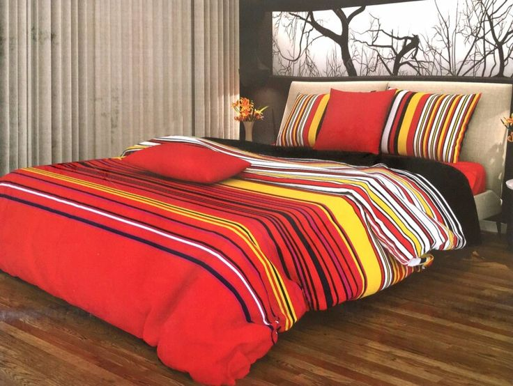 Cotton red bedsheet with stripes