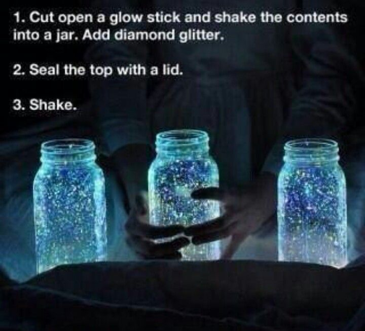 Diy glow in the dark glitter lights! Very cool, would be cute for a party decoration!