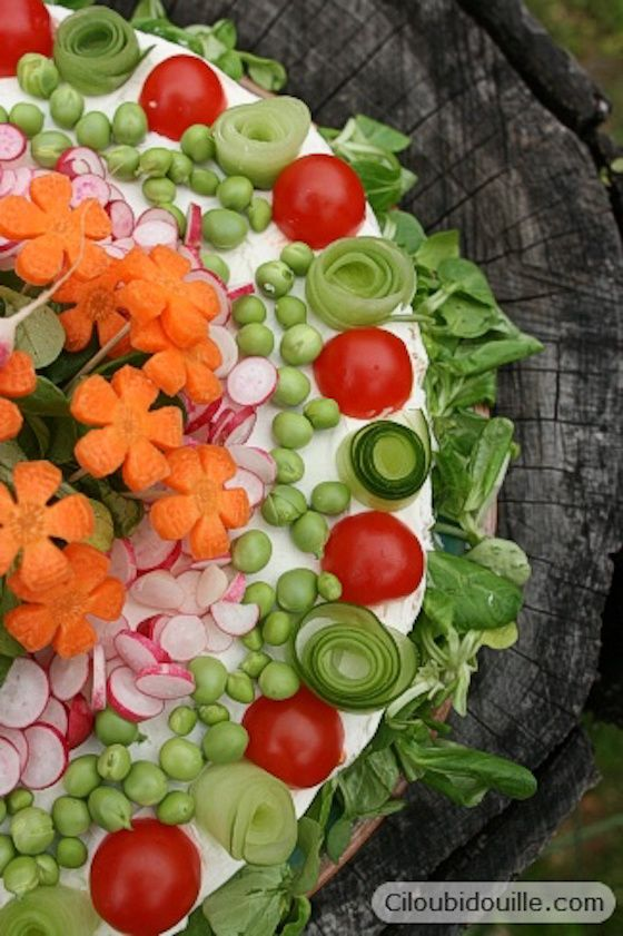 Sandwich Cake Decorated with Veggies
