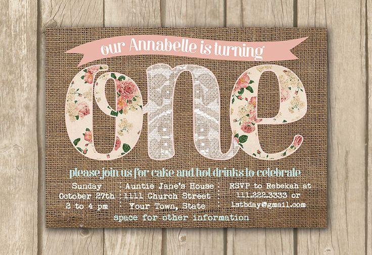 printable 1st birthday invitations, baby girl invitation, boho chic burlap lace, floral kids birthday party, shabby style 1st birthday by DulceGracePrintables on Etsy https://www.etsy.com/listing/191446879/printable-1st-birthday-invitations-baby