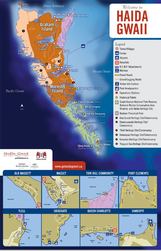 Maps - Getting Here Around - Go Haida Gwaii Haida Gwaii, informally but commonly known as the Queen Charlotte Islands and the Charlottes, is an archipelago on the North Coast of British Columbia, Canada. Approximately half of its population is of the Haida people