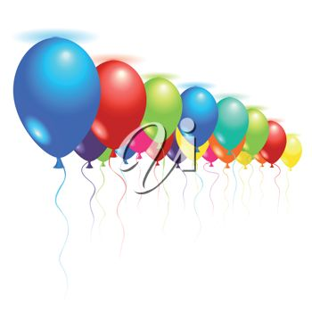Royalty Free Clipart Image of Balloons on the Ceiling
