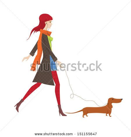 Girl with dachshund