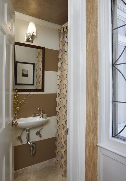 Eclectic Bathroom by Dunlap Design Group, LLC -  A large-scale pattern, like this wide stripe, can trick the eye into seeing expanded space. The square footage might stay the same, but the bathroom will feel bigger.