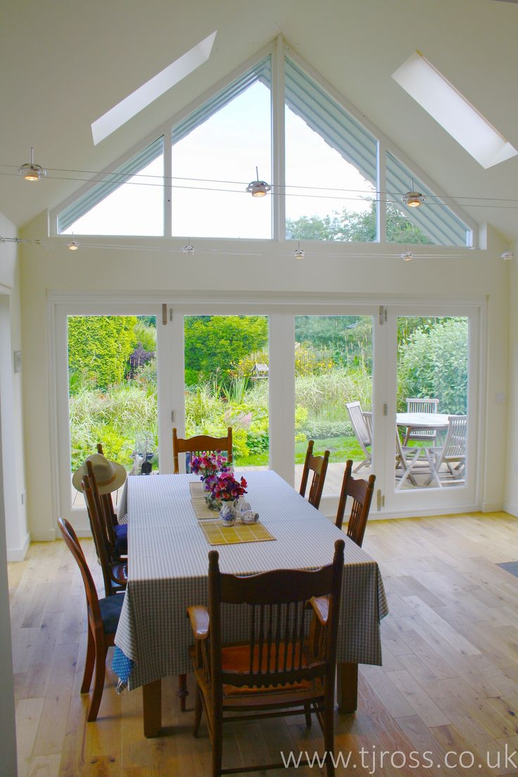 Skylights and Pitched Glass extension. Bi-fold doors and fixed casement windows