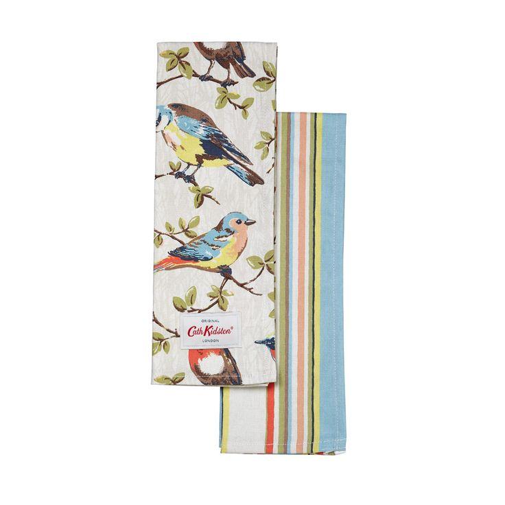 Tea Towels   Set of 2 Garden Birds & Kew Stripe Tea Towels   CathKidston