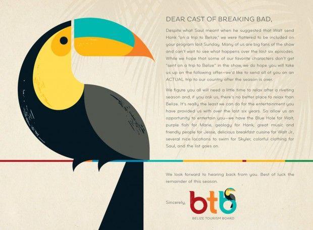 Caro cast di Breaking Bad, perché non vieni in vacanza in Belize?