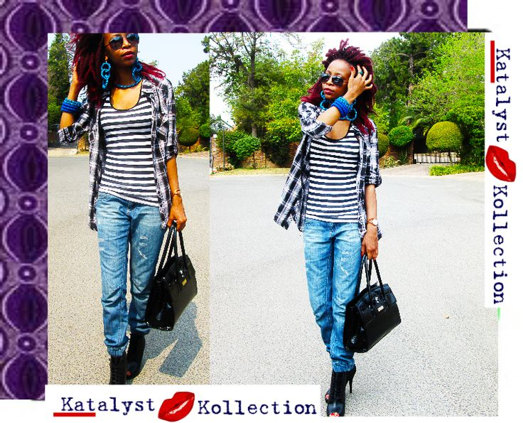 indulgence of Prints, Plaid, and Stripes... we love how @Katlego Moripe #styles for #KatalystKollection