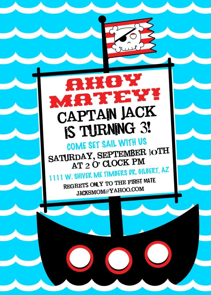 Pirate Birthday Party Printable Invitation by PetitePartyStudio