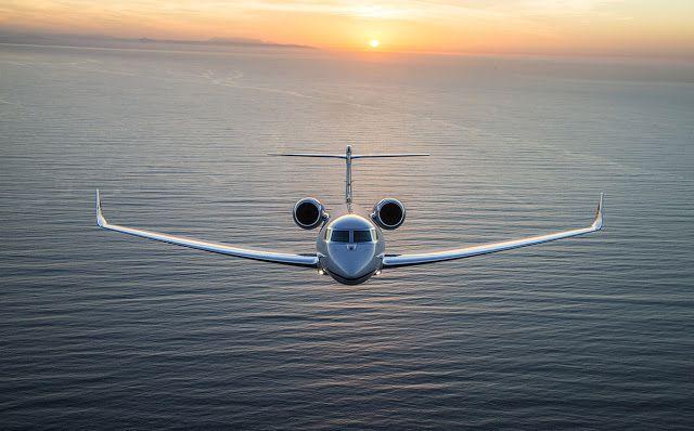 Gulfstream G650 Business Jet Cruising on Sunset Scene