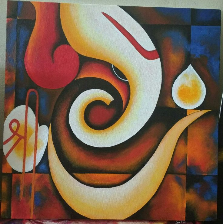 Lord Ganesha Acrylic painting on Hard Canvas Size 20x20 inches #Freeshipping $300