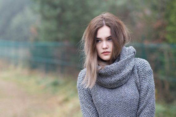 Gray sweater and gray shawl  Long sleeves  by Isabellwoolstudio