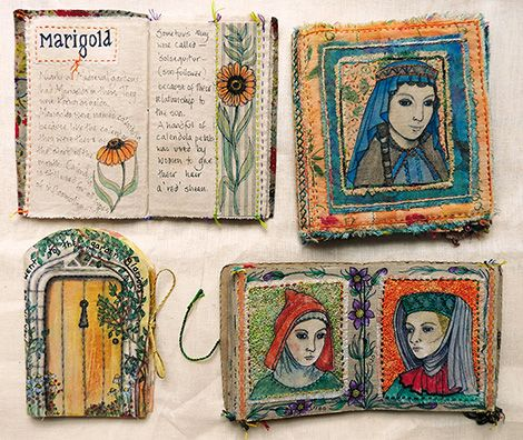Frances Pickering Books inspired by the Mediaeval period, paper and fabric (click to enlarge)