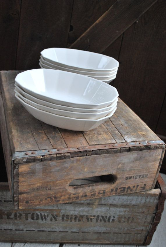 Vintage White Ironstone Serving Bowls