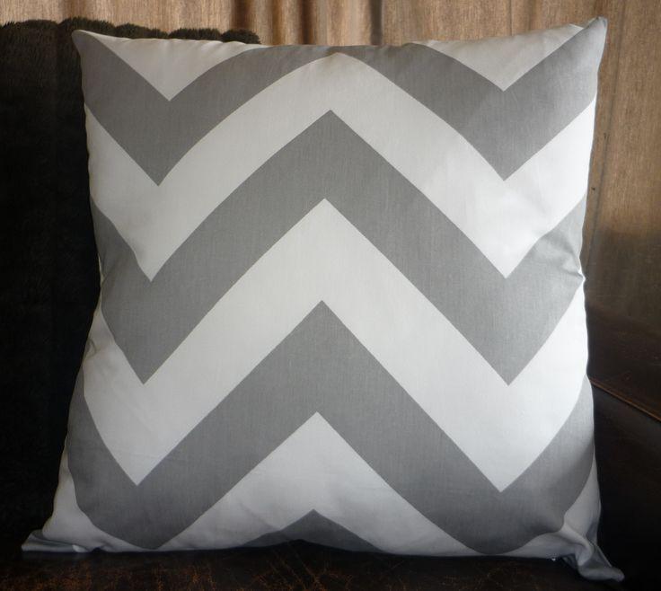 Large grey & white chevron cushion cover