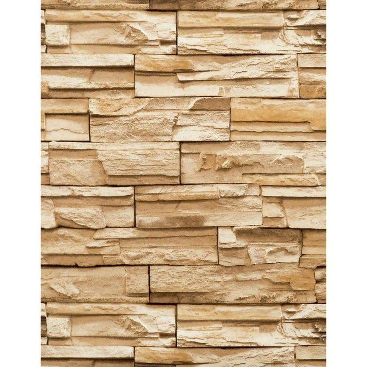 3-D Rectangular Stacked Stone in Beige Wallpaper RN1042 #York