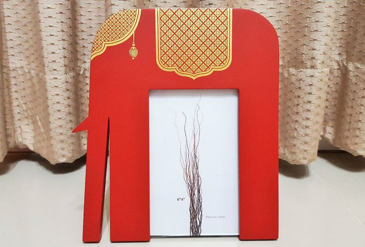 Genuine Gold Leave Thai Art Craft Wooden Red Elephant Picture Frame 4X6