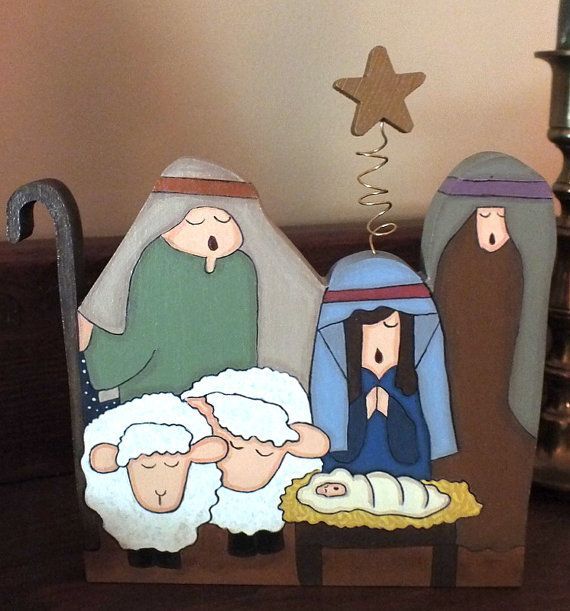 Hand Painted Nativity ... you can almost hear the angels singing, Away In the Manger!    7 H x 7 W